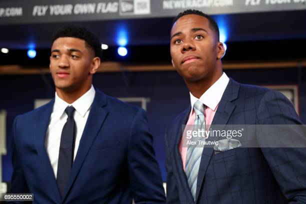 Hunter Greene and Bubba Thompson look on prior to the 2017 Major League Baseball Draft at Studio 42 at the MLB Network on Monday June 12 2017 in...