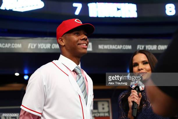 Hunter Greene looks on after being selected by the Cincinnati Reds during the 2017 Major League Baseball Draft at Studio 42 at the MLB Network on...