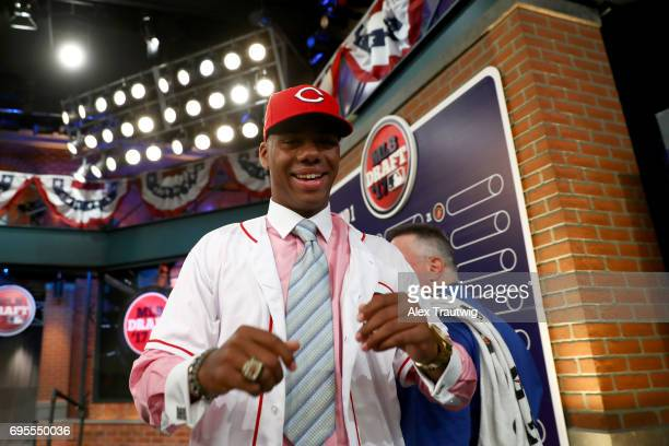 Hunter Greene looks on after being selected second overall by the Cincinnati Reds during the 2017 Major League Baseball Draft at Studio 42 at the MLB...