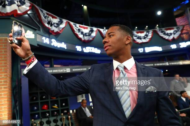 Hunter Greene takes a selfie prior to the 2017 Major League Baseball Draft at Studio 42 at the MLB Network on Monday June 12 2017 in Secaucus New...