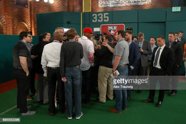 Hunter Greene talks to the media after being selected second overall by the Cincinnati Reds during the 2017 Major League Baseball Draft at Studio 42...