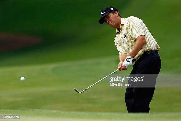 Hunter Haas of the United States chips to the fifth green during the third round of the Wells Fargo Championship at the Quail Hollow Club on May 5...