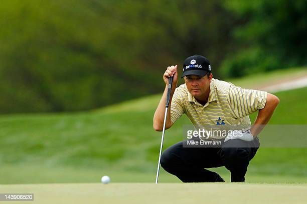 Hunter Haas of the United States lines up a putt on the fifth green during the third round of the Wells Fargo Championship at the Quail Hollow Club...