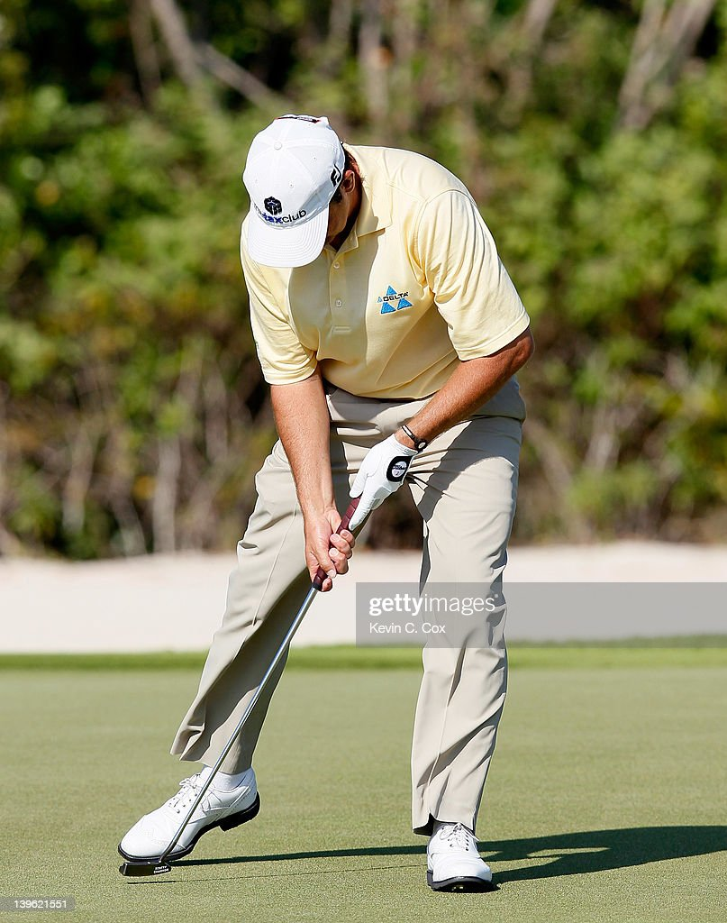 Hunter Haas of the United States reacts after missing a putt on the 16th green during the first round of the Mayakoba Golf Classic at Riviera Maya-Cancún held at El Camaleon Golf Club at Mayakoba on February 23, 2012 in Playa del Carmen, Mexico.
