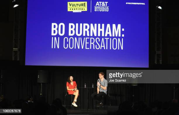 Hunter Harris and Bo Burnham attend the 'Bo Burnham In Coversation' during Vulture Festival Presented By ATT at Hollywood Roosevelt Hotel on November...