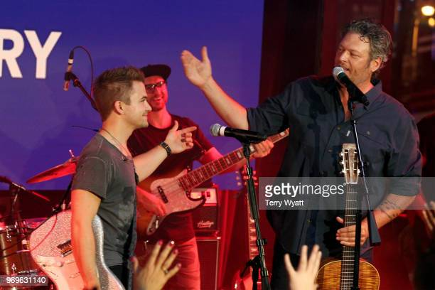 Hunter Hayes and Blake Shelton perform on stage at Spotify's Hot Country Presents Hunter Hayes Chris Lane Michael Ray and more at Ole Red During CMA...