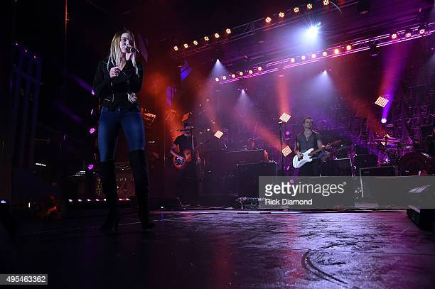 Hunter Hayes and Danielle Bradbery perform at Hunter Hayes 2nd Annual CMA Awards Week Street Party on November 2 2015 in Nashville Tennessee