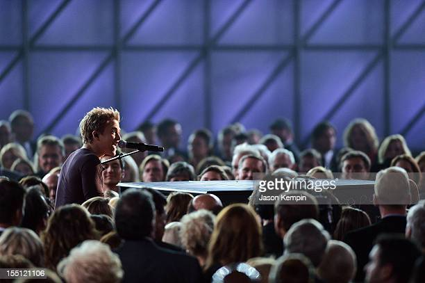 Hunter Hayes performs during the 46th annual CMA Awards at the Bridgestone Arena on November 1 2012 in Nashville Tennessee