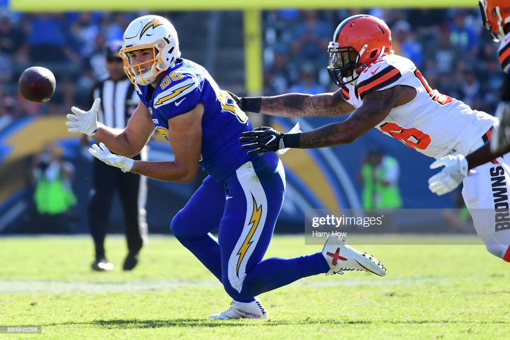Hunter Henry #86 of the Los Angeles Chargers makes the catch in front of Christian Kirksey #58 of the Cleveland Browns for a first down during the first quarter of the game at StubHub Center on December 3, 2017 in Carson, California.