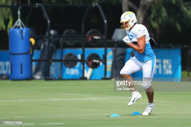 Hunter Henry of the Los Angeles Chargers runs a drill during Los Angeles Chargers Training Camp at the Jack Hammett Sports Complex on August 24, 2020...