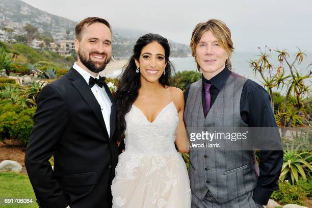 Hunter Hickman Rewa Zakharia and Johnny Rzeznik of the Goo Goo Dolls following a Surprise Performance at BRIDES Live Wedding on June 2 2017 in Laguna...