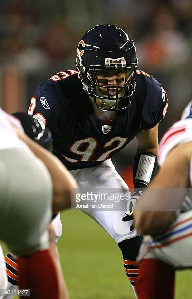 Hunter Hillenmeyer of the Chicago Bears awaits the start of play against the New York Giants during a preseason game on August 22 2009 at Soldier...