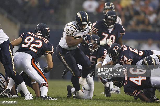 Hunter Hillenmeyer of the Chicago Bears in action during a game against the San Diego Chargers on August 18 2006 at Soldier Field in Chicago Illinois