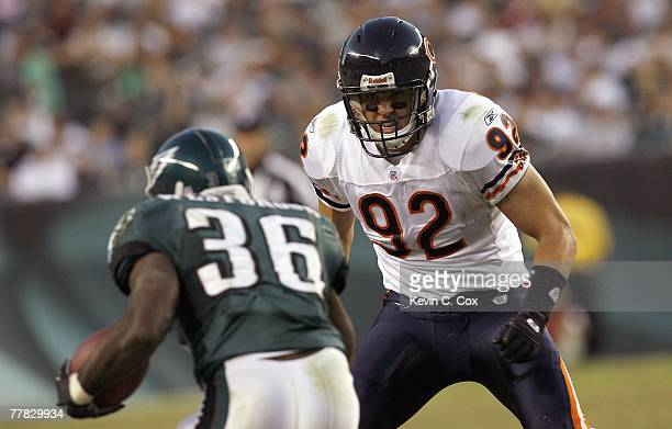Hunter Hillenmeyer of the Chicago Bears looks to block Brian Westbrook of the Philadelphia Eagles at Lincoln Financial Field October 21 2007 in...
