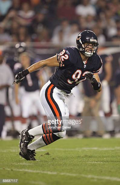 Hunter Hillenmeyer of the Chicago Bears runs after the play against the Buffalo Bills on August 26 2005 at Soldier Field in Chicago Illinois The...