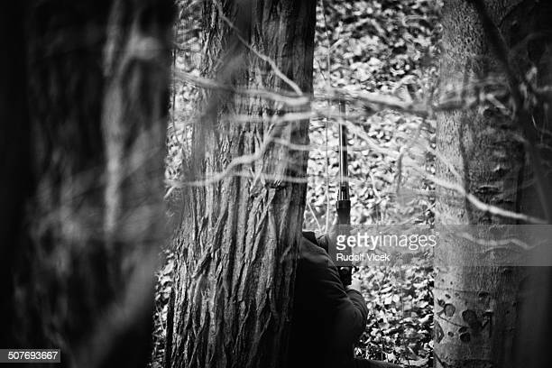 hunter in a forest - czech hunters stock pictures, royalty-free photos & images