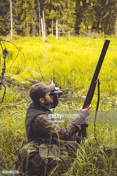 Hunter In Bog On The Watch