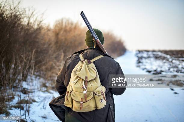 hunter in the field - hunting sport stock pictures, royalty-free photos & images