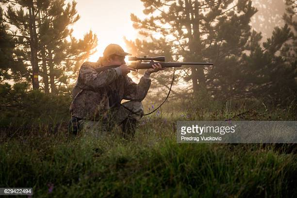 hunter in the nature - hunting sport stock pictures, royalty-free photos & images