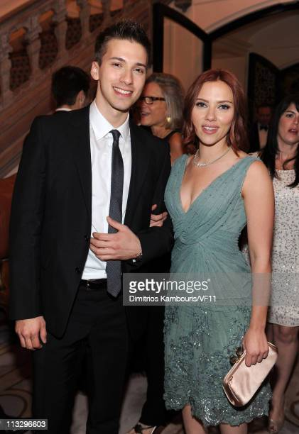 Hunter Johansson and Scarlett Johansson attend the Bloomberg Vanity Fair cocktail reception following the 2011 White House Correspondents'...