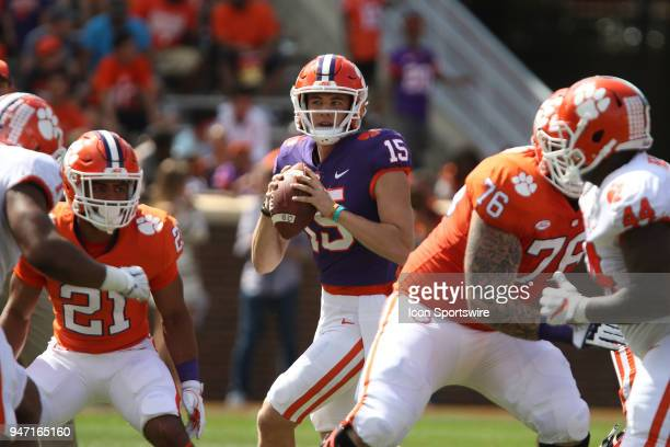 Hunter Johnson looks to throw a pass during action in the Clemson Spring Football game at Clemson Memorial Stadium on April 14 2018 in Clemson SC