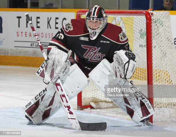Hunter Jones of the Peterborough Petes gets set to face a shot against the Oshawa Generals during Game Four of the Eastern Conference OHL...
