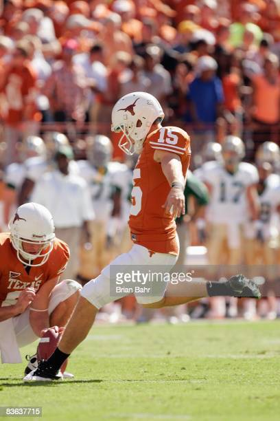 Hunter Lawrence of the Texas Longhorns kicks a field goal during the game against the Baylor Bears on November 8 2008 at Darrell K RoyalTexas...
