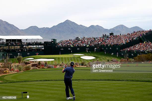Hunter Mahan hits a tee shot on the 16th hole during the first round of the Waste Management Phoenix Open at TPC Scottsdale on January 29 2015 in...