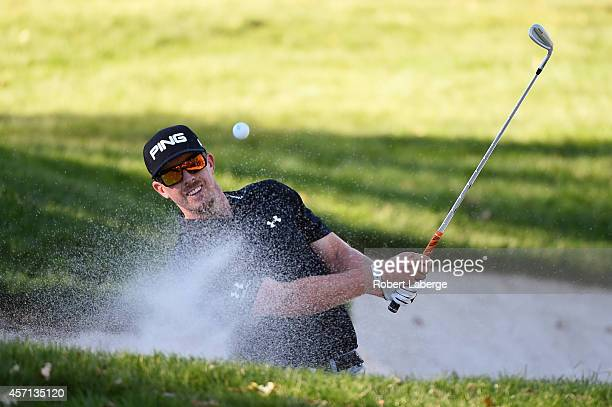 Hunter Mahan hits from the bunker on the 16th hole during the final round of the Fryscom Open at Silverado Resort and Spa on October 12 2014 in Napa...