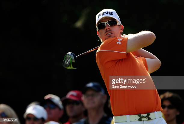 Hunter Mahan hits his tee shot on the 12th hole during the second round of THE PLAYERS Championship held at THE PLAYERS Stadium course at TPC...