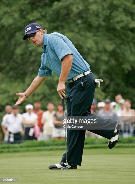 Hunter Mahan misses a birdie putt on during the final round of The Barclays held at Westchester Country Club August 26 2007 in Harrison New York