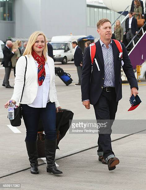 Hunter Mahan of the United States and wife Kandi Mahan arrive at Edinburgh Airport ahead of the 2014 Ryder Cup at Gleneagles on September 22 2014 in...