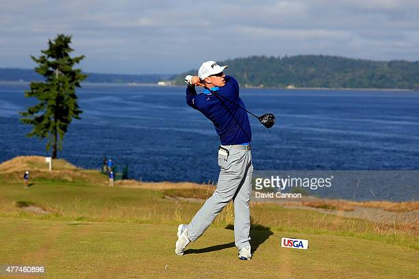 Hunter Mahan of the United States hits a tee shot during a practice round prior to the start of the 115th US Open Championship at Chambers Bay on...