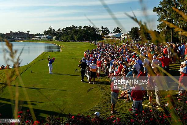 Hunter Mahan of the United States hits his tee shot on the 18th hole during the second round of THE PLAYERS Championship held at THE PLAYERS Stadium...