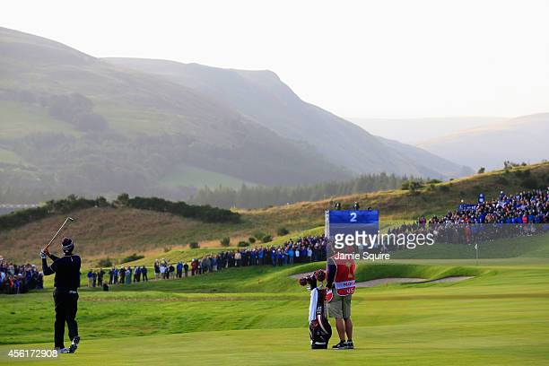Hunter Mahan of the United States plays his second shot on the the 2nd hole during the Morning Fourballs of the 2014 Ryder Cup on the PGA Centenary...