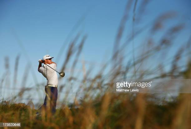Hunter Mahan of the United States tees off on the 5th ahead of the 142nd Open Championship at Muirfield on July 16 2013 in Gullane Scotland