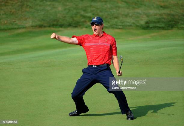 Hunter Mahan of the USA team celebrates making a birdie on the 17th hole during the singles matches on the final day of the 2008 Ryder Cup at...