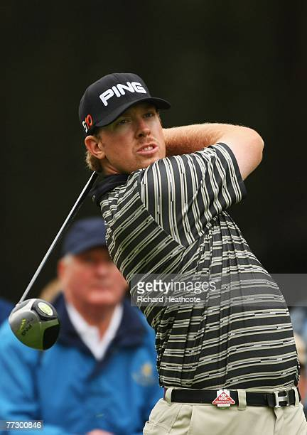 Hunter Mahan of United States plays his tee shot on the 8th during the Second Round of the HSBC World Matchplay Championship at The Wentworth Club on...