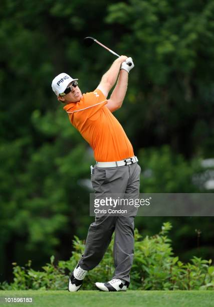 Hunter Mahan plays a shot during the first round of the Memorial Tournament presented by Morgan Stanley at Muirfield Village Golf Club on June 3 2010...