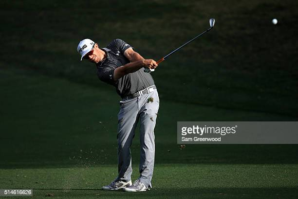 Hunter Mahan plays a shot off the tenth fairway during the first round of the Valspar Championship at Innisbrook Resort Copperhead Course on March 10...