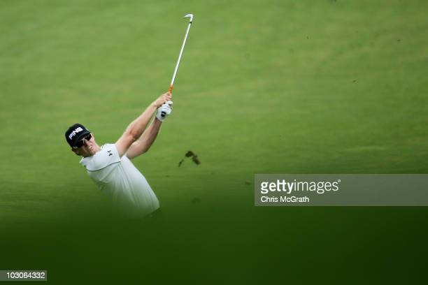 Hunter Mahan plays his third shot on the fourth hole during round two of the 2010 RBC Canadian Open at St. George's Golf and Country Club on July 23,...