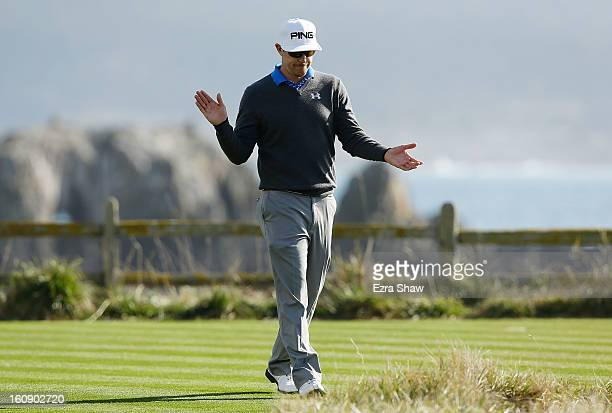 Hunter Mahan walks off the 18th tee during the first round of the ATT Pebble Beach National ProAm at Pebble Beach Golf Links on February 7 2013 in...