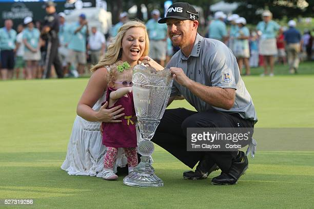 Hunter Mahan winner of The Barclays with his wife Kandi and daughter Zoe at theThe Barclays Golf Tournament at The Ridgewood Country Club Paramus New...