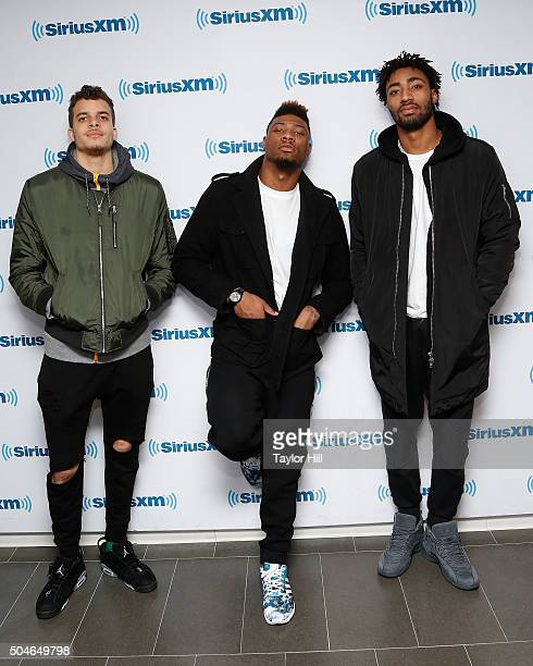 RJ Hunter Marcus Smart and James Young of the Boston Celtics visit the SiriusXM Studios on January 11 2016 in New York City