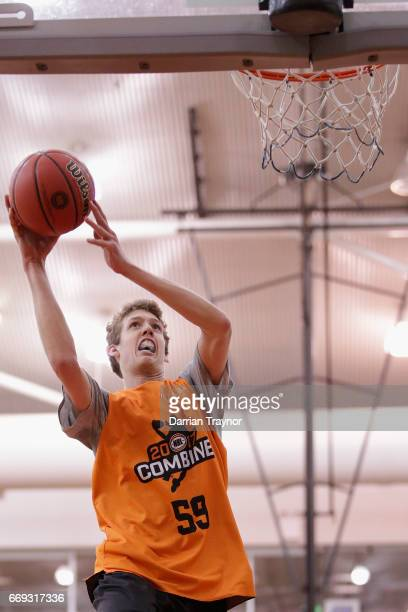 Hunter Marks drives to the basket during the NBL Combine 2017/18 at Melbourne Sports and Aquatic Centre on April 17 2017 in Melbourne Australia