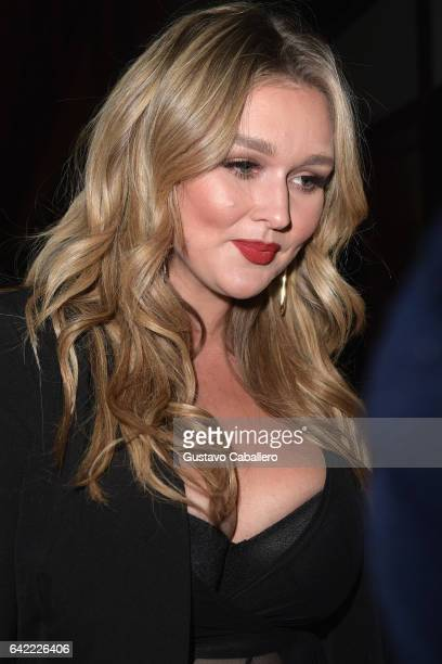 Hunter McGrady attends the Sports Illustrated Swimsuit 2017 Launch Event Outside Arrivals at Center415 Event Space on February 16 2017 in New York...