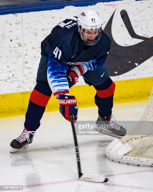 Hunter McKown of the US Nationals controls the puck against the Switzerland Nationals during day2 of game two of the 2018 Under17 Four Nations...