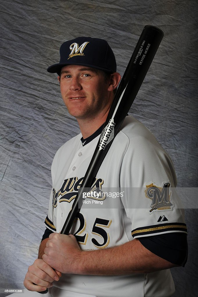 Hunter Morris #25 of the Milwaukee Brewers poses for a portrait during Photo Day on February 27, 2015 at Maryville Baseball Park in Maryvale, Arizona.