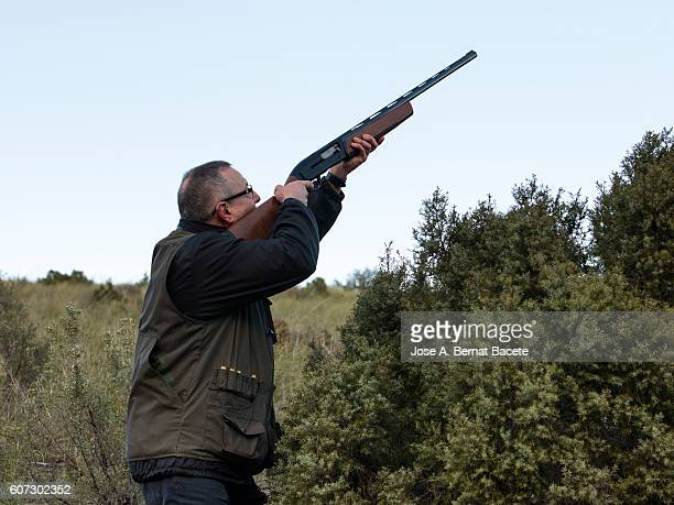 Hunter of birds camouflaged between shrubs in the moment to effect a shot with his shotgun