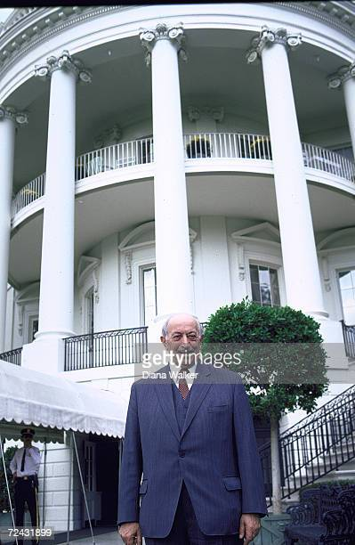 Hunter of Nazi war criminals Simon Wiesenthal at White House for signing of joint resolution of Congress by President Reagan to grant US citizenship...